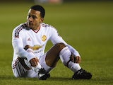 Memphis Depay looks on during the FA Cup fifth-round match between Shrewsbury Town and Manchester United on February 22, 2016