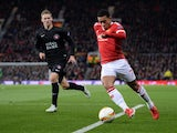 Memphis Depay in action during the Europa League game between Manchester United and FC Midtjylland on February 25, 2016