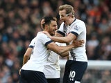 Nacer Chadli celebrates with Harry Kane during the Premier League game between Tottenham Hotspur and Swansea City on February 28, 2016