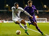 Nacer Chadli and Marcos Alonso in action during the Europa League game between Tottenham Hotspur and Fiorentina on February 25, 2016