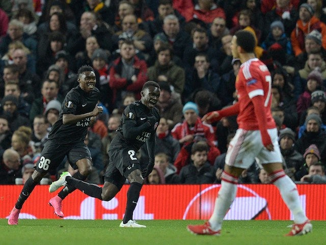 Pione Sisto celebrates scoring during the Europa League game between Manchester United and FC Midtjylland on February 25, 2016