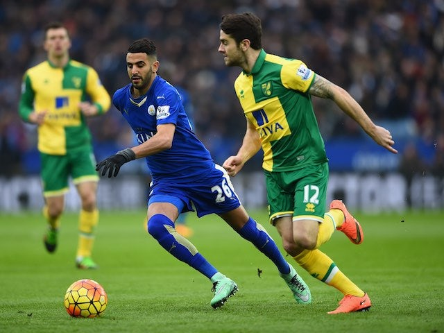 Riyad Mahrez and Robbie Brady in action during the Premier League game between Leicester City and Norwich City on February 27, 2016