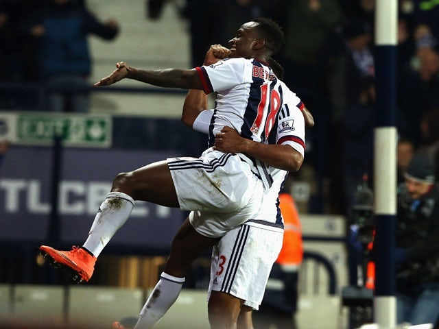 Saido Berahino celebrates scoring his team's third goal during the Premier League match between West Bromwich Albion and Crystal Palace at The Hawthorns on February 27, 2016