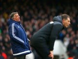 "Sam Allardyce of Sunderland ""looks frustrated"" as West Ham United manager Slaven Bilic watches the game on February 27, 2016"
