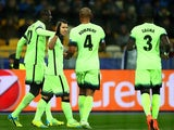 Sergio Aguero of Manchester City celebrates after scoring the opening goal against Dynamo Kiev in the Champions League on February 24, 2016