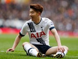 Son Heung-Min has a rest during the Premier League game between Tottenham Hotspur and Swansea City on February 28, 2016