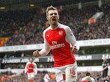 Aaron Ramsey celebrates scoring the opener during the Premier League game between Tottenham Hotspur and Arsenal on March 5, 2016
