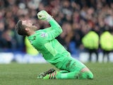 Adrian is overjoyed during the Premier League game between Everton and West Ham United on March 5, 2016