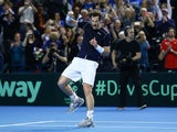 Andy Murray celebrates defeating Kei Nishikori in the Davis Cup on March 6, 2016