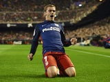 Antoine Griezmann celebrates scoring during the La Liga game between Valencia and Atletico Madrid on March 6, 2016
