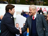 Arsene Wenger and Mauricio Pochettino shake hands prior to the Premier League game between Tottenham Hotspur and Arsenal on March 5, 2016
