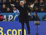 Claudio Ranieri points during the Premier League game between Leicester City and West Bromwich Albion on March 1, 2016