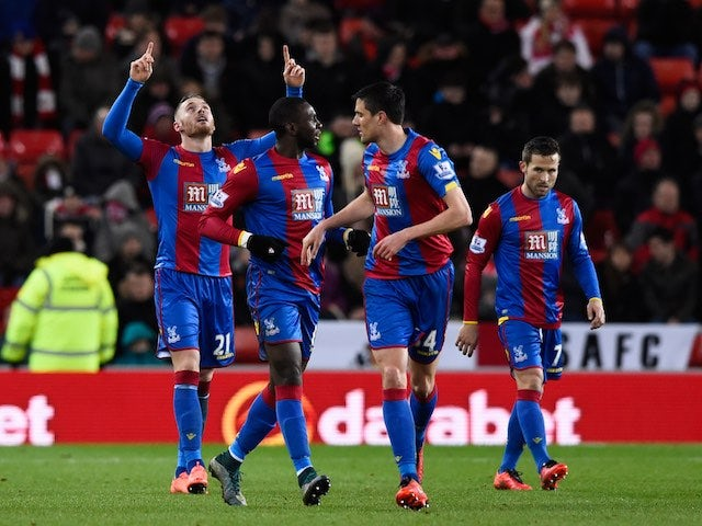 Connor Wickham celebrates with teammates during the Premier League game between Sunderland and Crystal Palace on March 1, 2016