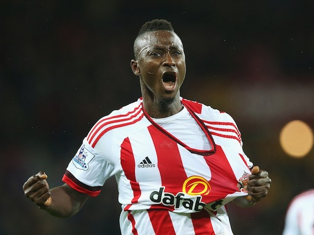 Dame N'Doye celebrates scoring during the Premier League game between Sunderland and Crystal Palace on March 1, 2016