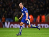 Danny Drinkwater celebrates getting the equaliser during the Premier League game between Leicester City and West Bromwich Albion on March 1, 2016