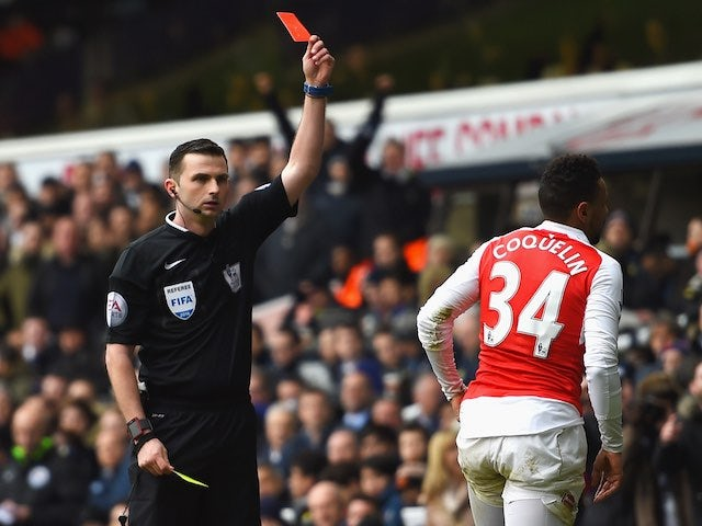 Francis Coquelin sees red during the Premier League game between Tottenham Hotspur and Arsenal on March 5, 2016