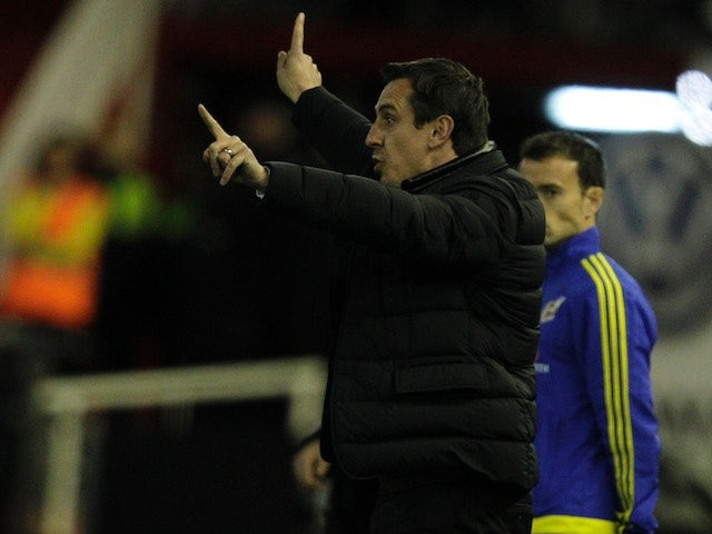 Gary Neville conducts his side during the La Liga game between Valencia and Atletico Madrid on March 6, 2016