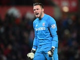 Jack Butland celebrates the opener during the Premier League game between Stoke City and Newcastle United on March 2, 2016