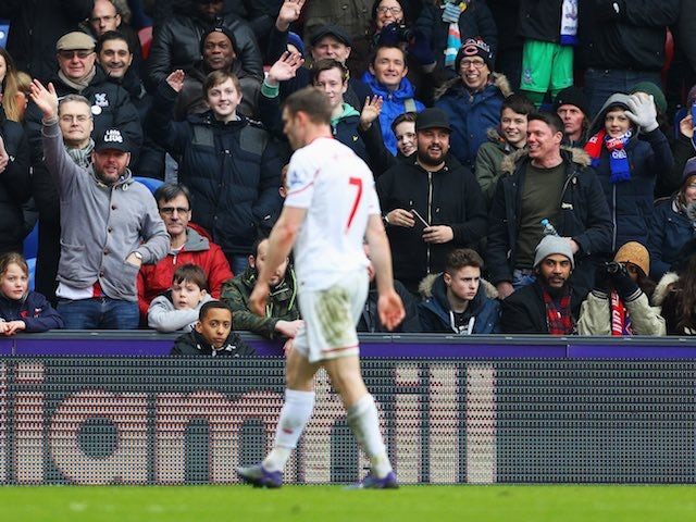 James Milner walks off the pitch during the Premier League game between Crystal Palace and Liverpool on March 6, 2016