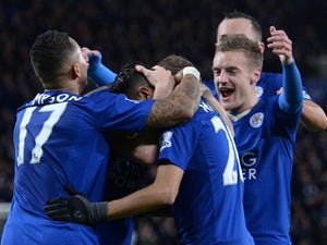 Jamie Vardy celebrates with Andy King during the Premier League game between Leicester City and West Bromwich Albion on March 1, 2016