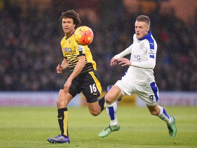 Jamie 'all natural' Vardy and Nathan Ake in action during the Premier League game between Watford and Leicester City on March 5, 2016