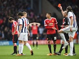 Juan Mata sees red during the Premier League game between West Bromwich Albion and Manchester United on March 6, 2016