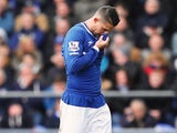 Kevin Mirallas walks off the pitch after seeing red during the Premier League game between Everton and West Ham United on March 5, 2016