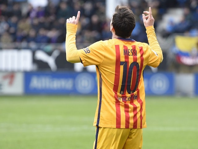 Lionel Messi celebrates during the La Liga game between Eibar and Barcelona on March 6, 2016