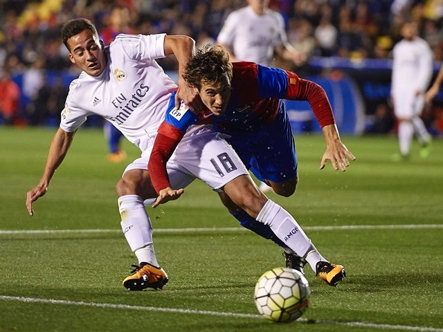 Lucas Orban competes for the ball with Lucas VAZQUEZ during the La Liga match between Levante and Real Madrid on March 02, 2016