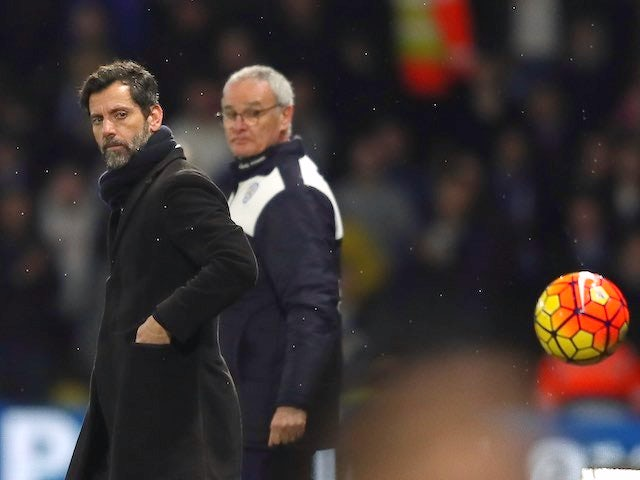 Quique Flores and Claudio Ranieri track the ball during the Premier League game between Watford and Leicester City on March 5, 2016
