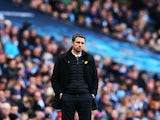 Remi Garde cuts a miserable figure during the Premier League game between Manchester City and Aston Villa on March 5, 2016