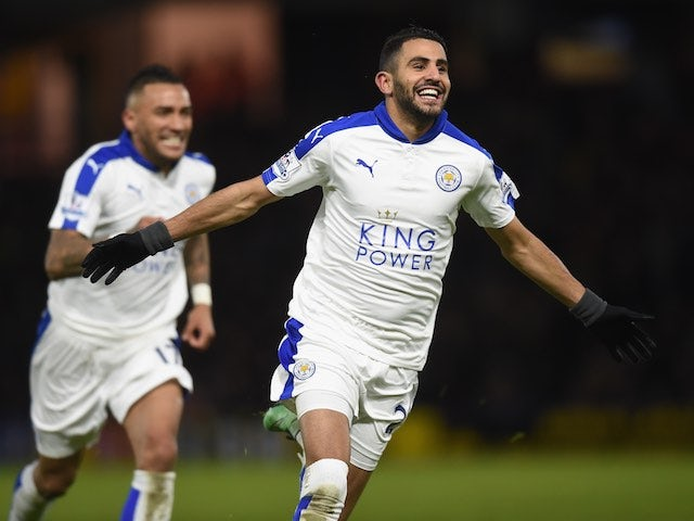 Riyad Mahrez celebrates finding the opener during the Premier League game between Watford and Leicester City on March 5, 2016