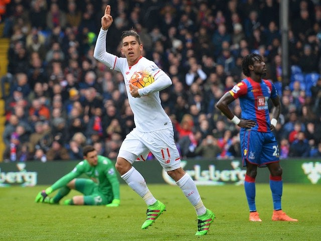 Roberto Firmino celebrates scoring during the Premier League game between Crystal Palace and Liverpool on March 6, 2016