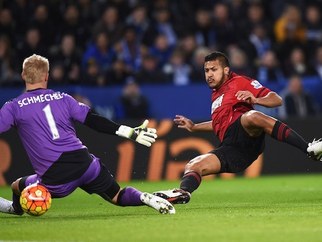Salomon Rondon scores past Kasper Schmeichel during the Premier League game between Leicester City and West Bromwich Albion on March 1, 2016