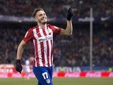 Saul Niguez celebrates scoring during the La Liga game between Atletico Madrid and Real Sociedad on March 1, 2016