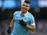Sergio Aguero celebrates scoring during the Premier League game between Manchester City and Aston Villa on March 5, 2016