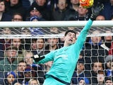 Thibaut 'lock up your girlfriends' Courtois makes a save during the Premier League game between Chelsea and Stoke City on March 5, 2016