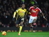 Timothy Fosu-Mensah of Manchester United and Odion Ighalo of Watford battle for the ball on March 2, 2016
