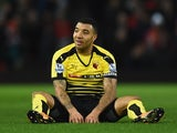 Troy Deeney of Watford rests during the Premier League match against Manchester United on March 2, 2016