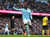 Yaya Toure celebrates opening the scoring in fine fashion during the Premier League game between Manchester City and Aston Villa on March 5, 2016