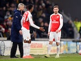 Aaron Ramsey goes off injured during the FA Cup game between Hull City and Arsenal on March 8, 2016