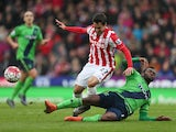 Bojan Krkic and Cuco Martina in action during the Premier League match between Stoke City and Southampton on March 12, 2016
