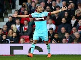 Dimitri Payet celebrates scoring during the FA Cup game between Manchester United and West Ham United on March 13, 2016