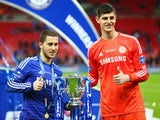 Eden Hazard and Thibaut Courtois pose with the League Cup trophy in March 2015