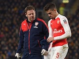 Gabriel 'Caesar' Paulista walks off injured during the FA Cup game between Hull City and Arsenal on March 8, 2016