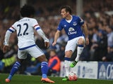 Leighton Baines and Willian in action during the FA Cup game between Everton and Chelsea on March 12, 2016