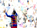 Neymar celebrates getting on the scoresheet during the La Liga game between Barcelona and Getafe on March 12, 2016