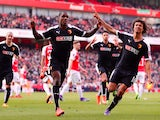 Odion Ighalo celebrates scoring with Nathan Ake during the FA Cup game between Arsenal and Watford on March 13, 2016