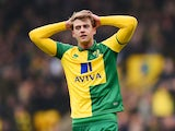 Patrick Bamford rues a missed chance during the Premier League game between Norwich City and Manchester City on March 12, 2016