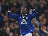 Romelu Lukaku celebrates scoring during the FA Cup game between Everton and Chelsea on March 12, 2016
